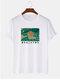 T-shirt à manches courtes avec caractères ethniques et imprimé Ukiyoe pour hommes 100 % coton - blanc