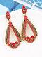 Vintage Alloy Elegant Drop-shape Earrings - Red