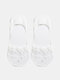 10 Pairs Women Cotton Solid Color Lace Flowers Mesh Breathable Shallow Mouth Invisible Boat Socks - White