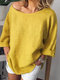 Crew Neck Solid Color 3/4 Sleeve Casual Blouse For Women