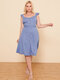 Solid Color Sleeveless Button Plus Size Casual Dress - Blue