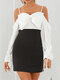 Contrast Color Strap Backless Bowknot Long Sleeve Mini Sexy Dress - Black