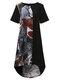 Vintage Print Patchwork Short Sleeve Plus Size Dress for Women - Black