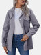 Solid Pocket Long Sleeve Button Lapel Jacket for Women - Gray