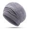 Women Extensible Rabbit Hair Blend Pure Color Thick Warm Knit Hat Outdoor Travel Snow Hat - Gray