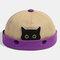 Women & Men Landlord Hat Street Cat Pattern Melon Cap Innocent Standard Sailor Skull Caps Brimless Hats - Khaki