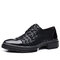 Men Lace-up Round Toe Printing Pattern Non Slip Casual Loafers Shoes - Black