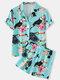 Plus Size Women Cartoon Bird Print Revere Collar Shirt & Shorts Pajama Sets - Blue