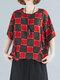 Women Plaid Floral Print O-neck Half Sleeves Casual T-Shirt - Check