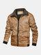 Mens Plus Velvet Lined Stand Collar Zipper Front Pocket Fit Warm Thicken Jackets - Brown