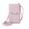 Women Multi-function 6.5 Inch Phone Purse 6 Card Slot Card Holder Anti Theft Solid Crossbody Bag - Pink