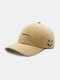 Unisex Cotton Embroidery Funny Face Young Outdoor Sunshade Baseball Hat - Khaki