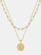Luxury Layering Paperclip Chain Women Necklace 26 Initials Coin Pendant 14K Gold Plated Necklace Clavicle Chain - L