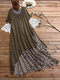 Vintage Fake Two Pieces Short Sleeve O-Neck Patchwork Dress - Brown