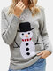 Christmas Snowman Long Sleeve O-neck Casual Sweater For Women - Gray