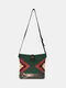 Women Felt Geometric Print Ethnic Crossbody Bag Shoulder Bag - Green