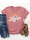 Mama Print Short Sleeve Plus Size Casual T-shirt - Pink