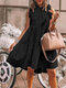 Stringy Selvedge Solid Color Sleeveless Casual Dress For Women - Black