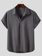 Plus Size Mens Cotton Solid Concealed Placket Plain Casual Short Sleeve Shirts - Gray