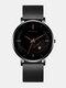 Alloy Steel Business Casual Mesh Belt Calendar Mens Quartz Watch - Black+Black+Orange