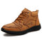 Men Vintage Microfiber Leather Hand Stitching Ankle Boots - Yellow