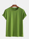 Mens Basic Cotton Solid Color Round Neck T-shirt - Dark Green