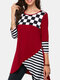 Casual Plaid Striped Patchwork Mid Length sudadera