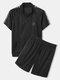 Mens Letter Side Print Zipper Top Mesh Sport Sets With Drawstring Shorts - Black