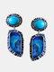 Vintage Water Drop Shape Women Earrings Symmetry Turquoise Pendant Earrings - Silver