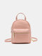 Women Solid Casual Cute Student School Bag Backpack - Pink