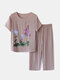 Women Butterfly Print Loungewear Short Sleeve Floral Loose Breathable O-Neck Summer Pajamas To Wear Outside - Khaki