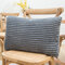 Striped Flannel Rectangular Pillowcase Backrest Cover Cushion Cover Pillowcase - Dark Grey