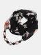 Vintage Chiffon Women Scarf Necklace Beaded Pendant Lattice Flowers Pattern Silk Scarf - #04
