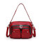 Women Multifunction Faux Leather Crossbody Bag - Red