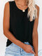 Solid Color O-neck Casual Tank Top for Women - Black