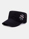 Men Cotton Embroidery Letter Pattern Fashion Outdoor Military Hat Flat Hat Peaked Cap - Black