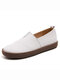 Women's Leather Casual Slip On Flat Loafers Shoes - White