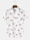 Mens Vintage Floral Print 100% Cotton Short Sleeve Shirts With Pocket - White