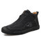 Men Hand Stiching Zipper Microfiber Leather Comfortable Outdoor Casual Shoes - Black