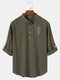 Mens Plain Half Button Cotton Long Sleeve Henley Shirts With Sleeve Tabs - Army Green
