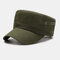 Men's Fashion Simple Pure Cotton Flat Hat Outdoor All-Match Solid Color Military Hat - Green