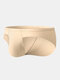 Men Plain Stitching Elastic Solid Color Pouch Cozy Seamless Briefs - Nude