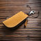 Men Genuine Leather Keychains Coin Purse Wallet - Yellow 1