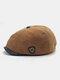 Men Plus Velvet And Thick Plain Color Flat Cap Metal Badge Newsboy Hat Octagonal Hat Beret Hat - Camel