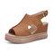 Women Retro Peep Toe Hollow Slingback Buckle Platform Sandals - Brown