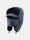 男性防寒冬用トラッパーハットマスクトラッパーハット付き厚手の冬用ハット耳栓 - ネービー