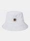 ユニセックスコットンソリッドカラーレタースモールカラーブロックパターンプリントオールマッチサンシェードバケットハット - 白い