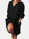 Long Sleeve Loose Casual Solid Color Dress For Women - Black