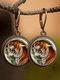 Vintage Animal Printed Women Earrings Cat Dog Glass Pendant Earrings - #11