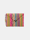 Women Geometric Ethnic Embroidered Clutches Bag - Rose